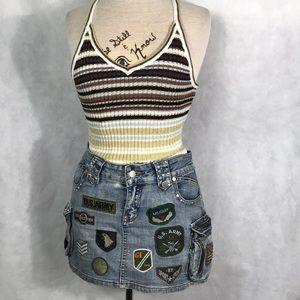 Patches denim mini skirt